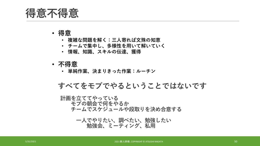 得意不得意 5/31/2021 2021 新人研修, COPYRIGHT © ATSUSHI ...