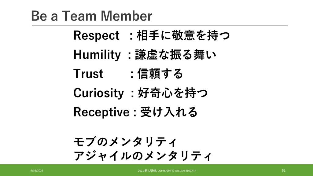 Be a Team Member 5/31/2021 2021 新人研修, COPYRIGHT...