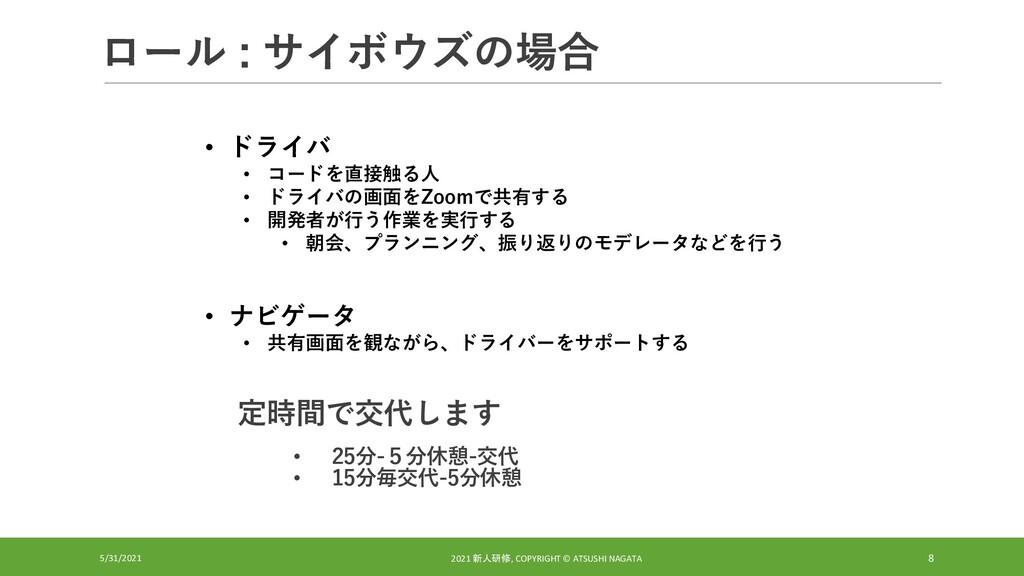 ロール : サイボウズの場合 5/31/2021 2021 新人研修, COPYRIGHT ©...
