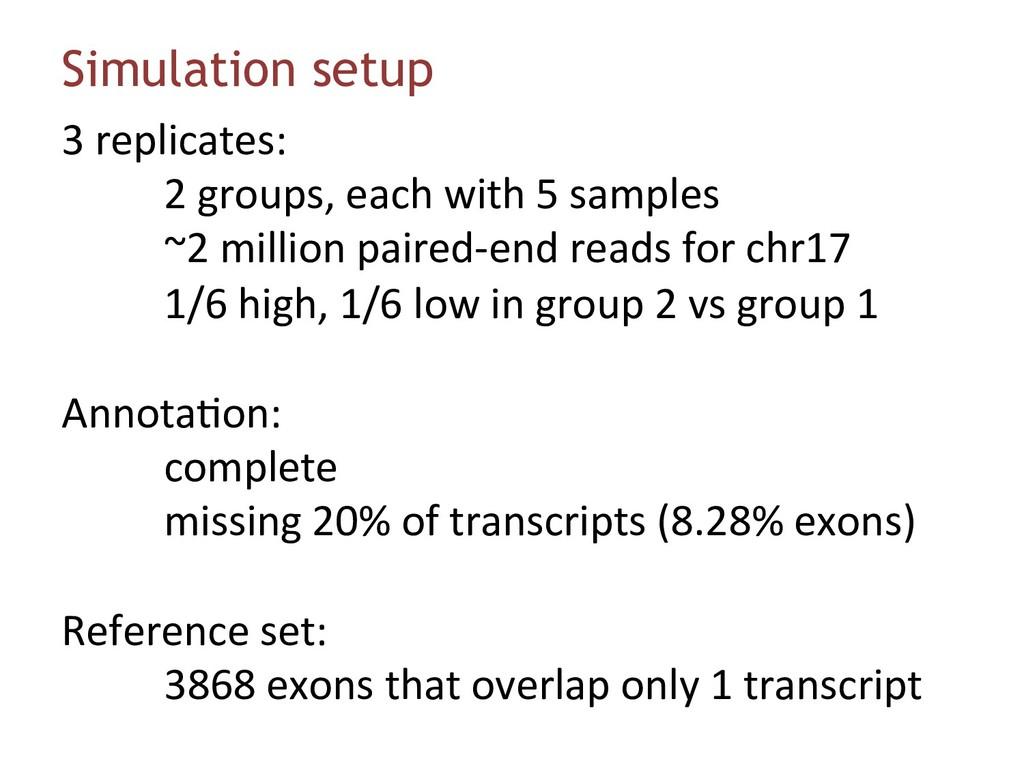 Simulation setup 3 replicates: 2 groups, each w...