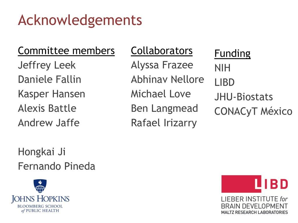 Acknowledgements Committee members Jeffrey Leek...