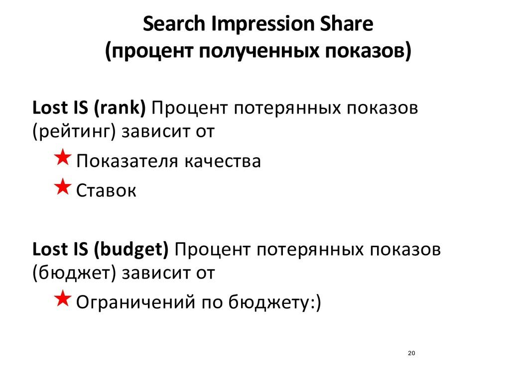 Search Impression Share (процент полученных пок...