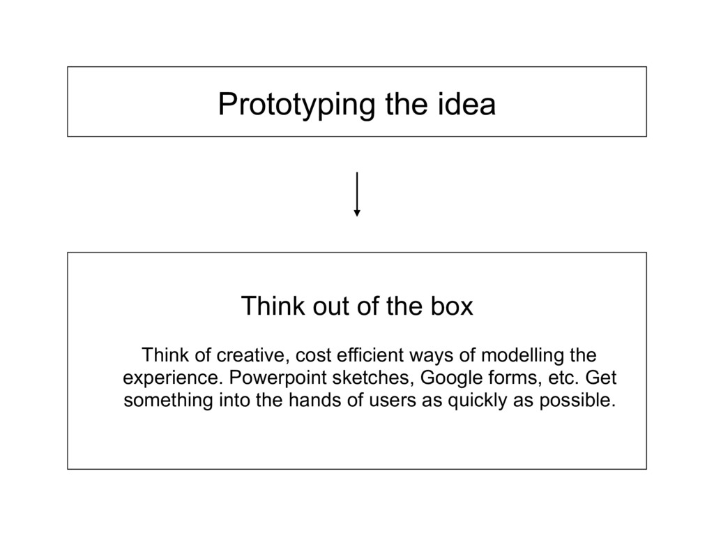 Prototyping the idea Think of creative, cost ef...