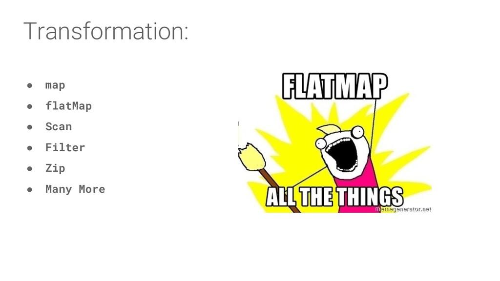 Transformation: ● map ● flatMap ● Scan ● Fil...