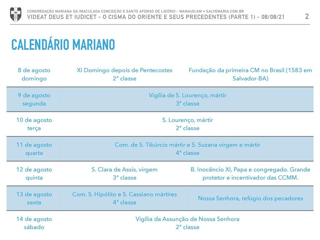 CALENDÁRIO MARIANO 2 CONGREGAÇÃO MARIANA DA IMA...