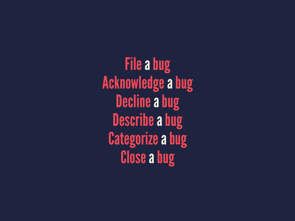 File a bug Acknowledge a bug Decline a bug Desc...