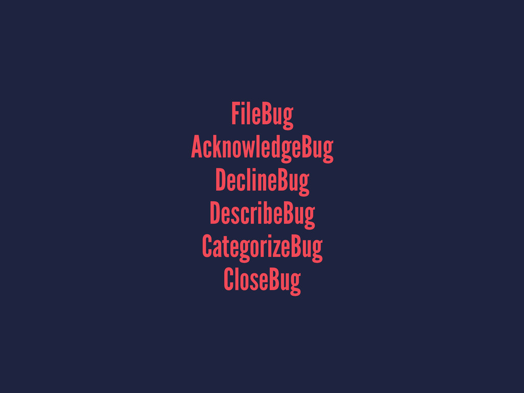 FileBug AcknowledgeBug DeclineBug DescribeBug C...