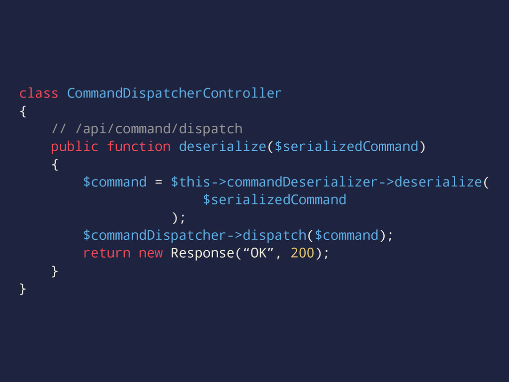 class CommandDispatcherController { // /api/com...