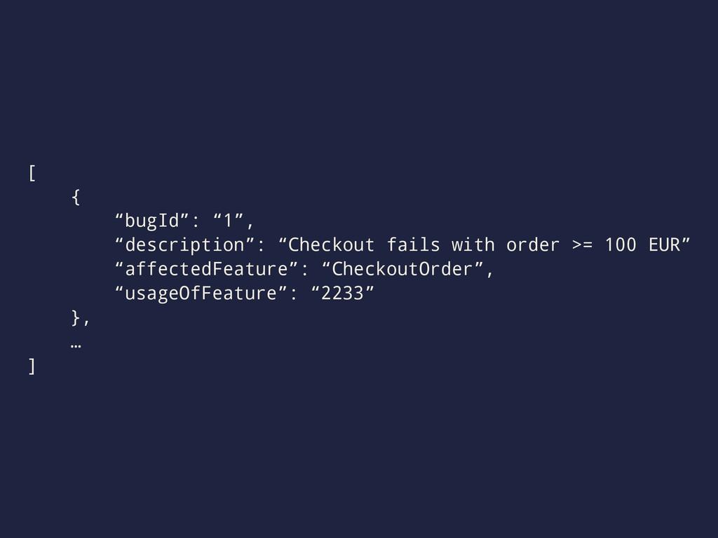 """[ { """"bugId"""": """"1"""", """"description"""": """"Checkout fail..."""