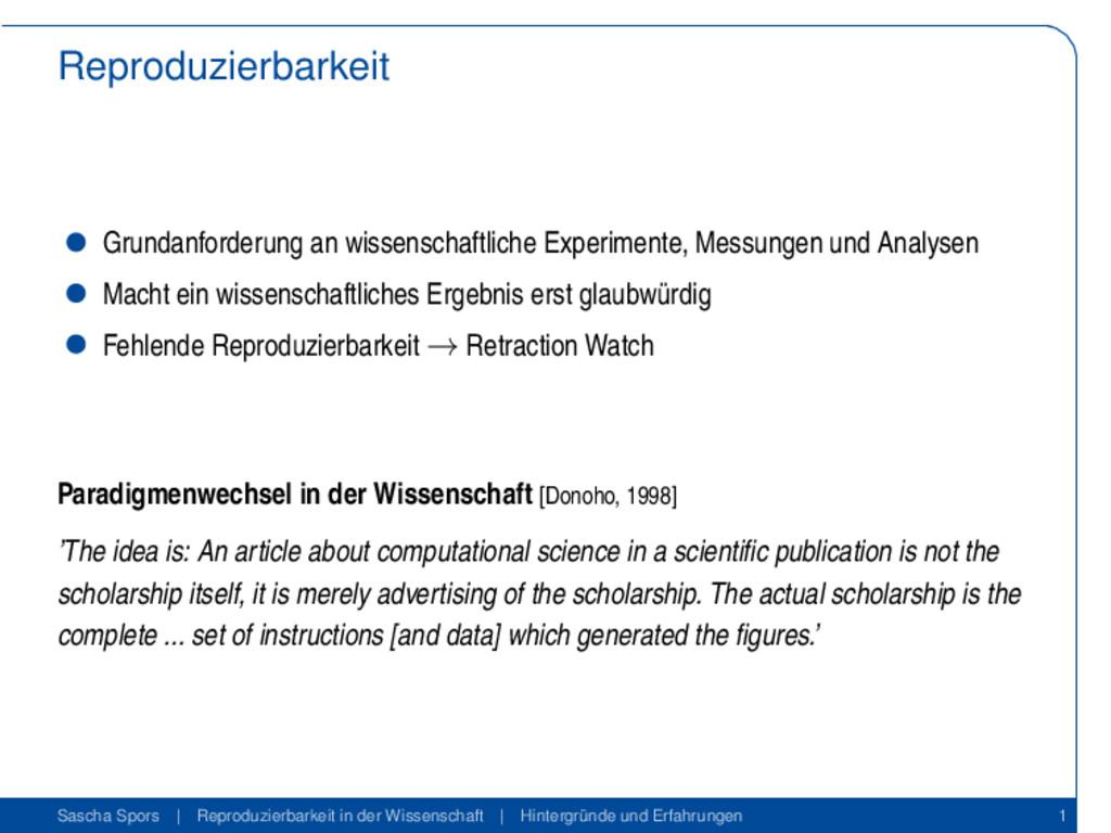 Reproduzierbarkeit Grundanforderung an wissensc...