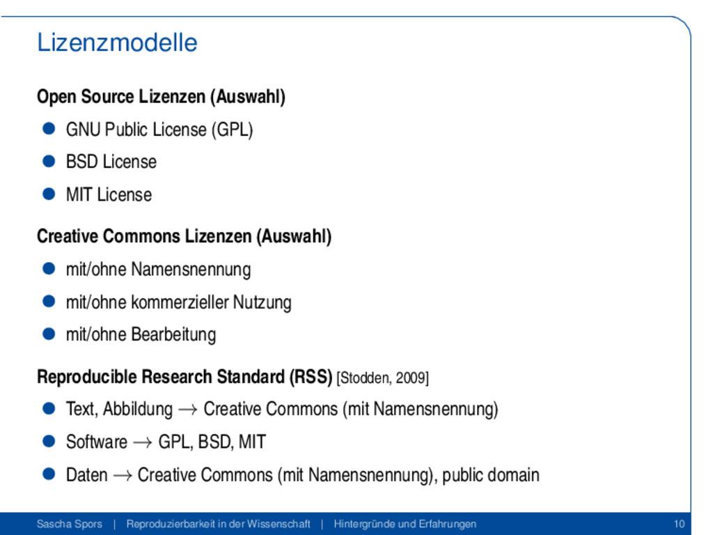 Lizenzmodelle Open Source Lizenzen (Auswahl) GN...