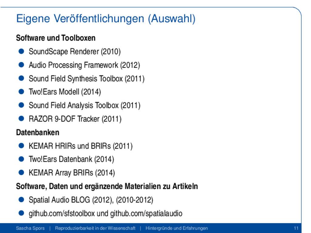 Eigene Veröffentlichungen (Auswahl) Software un...
