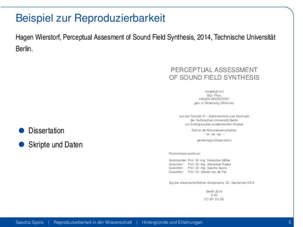 Beispiel zur Reproduzierbarkeit Hagen Wierstorf...