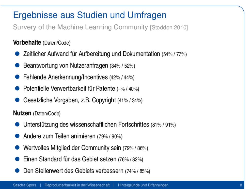 Ergebnisse aus Studien und Umfragen Survery of ...