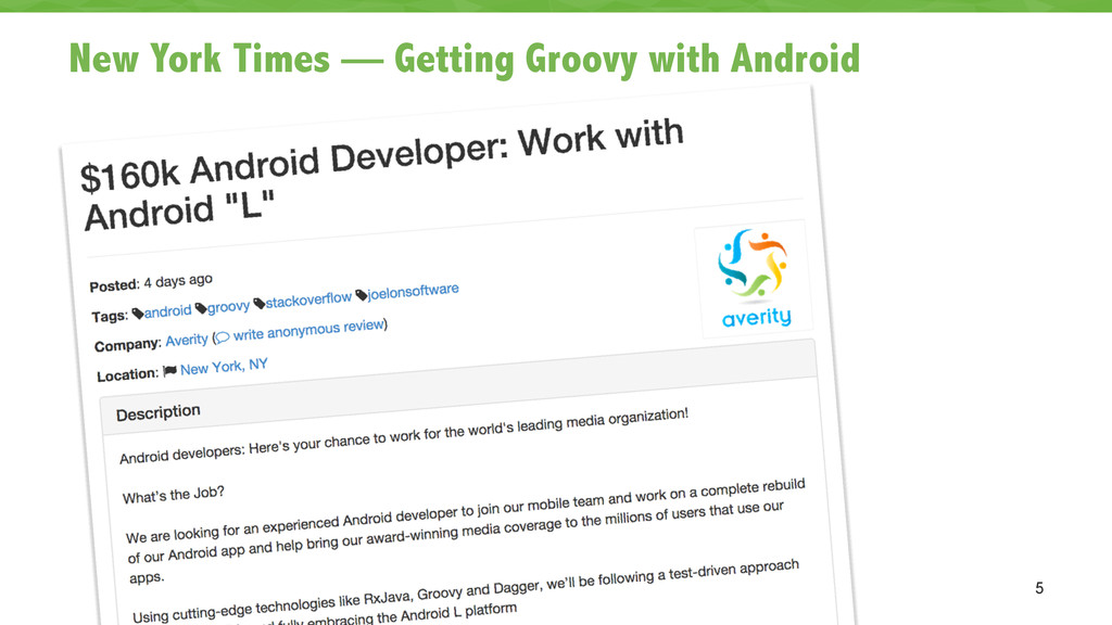 New York Times — Getting Groovy with Android 5