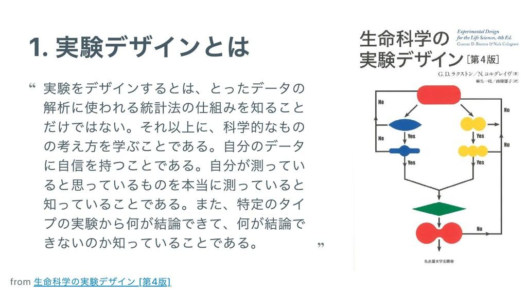 1. 実験デザインとは 実験をデザインするとは、とったデータの 解析に使われる統計法の仕組みを...