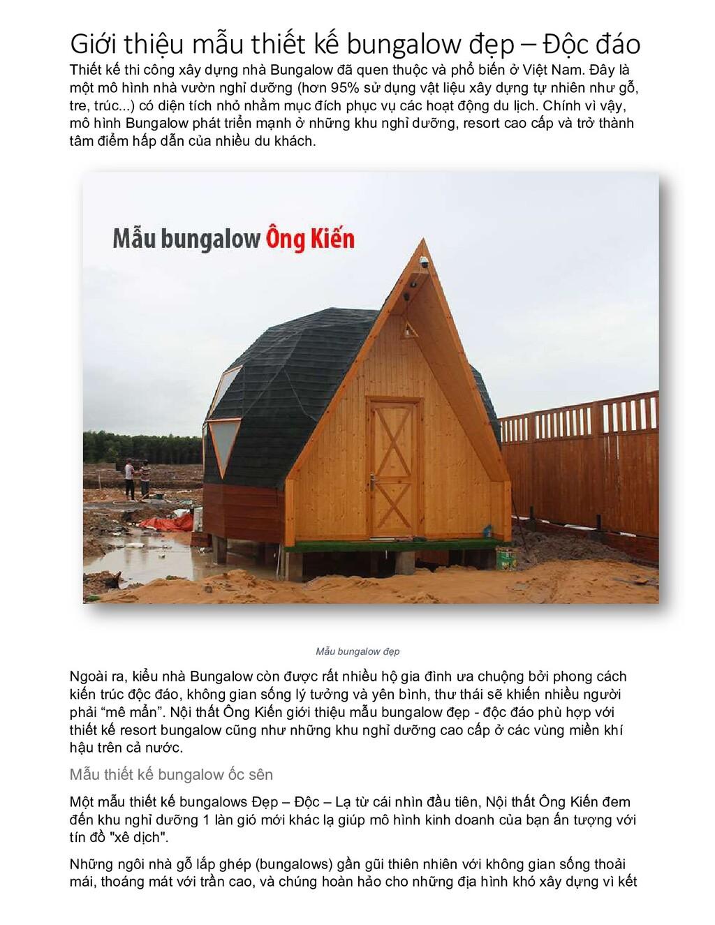 Giới thiệu mẫu thiết kế bungalow đẹp – Độc đáo ...
