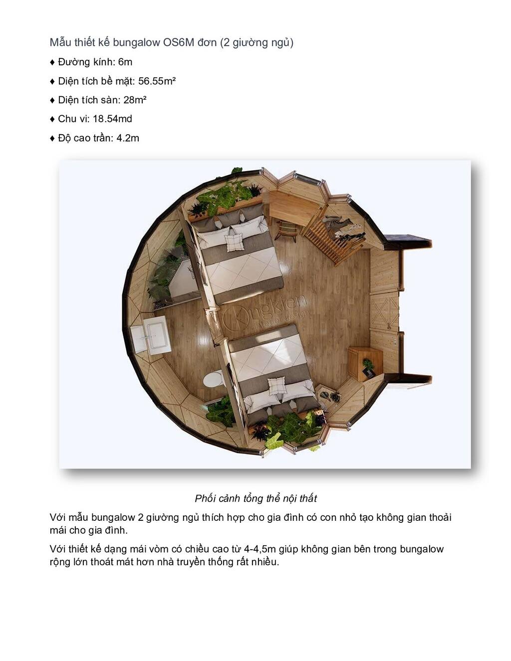Mẫu thiết kế bungalow OS6M đơn (2 giường ngủ) ♦...