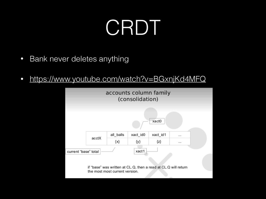 CRDT • Bank never deletes anything • https://ww...