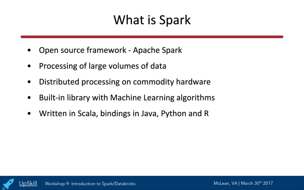 UpSkill Workshop 9: Introduction to Spark/Datab...
