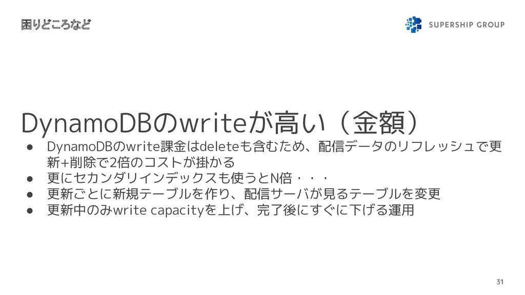 DynamoDBのwriteが高い(金額) ● DynamoDBのwrite課金はdelete...