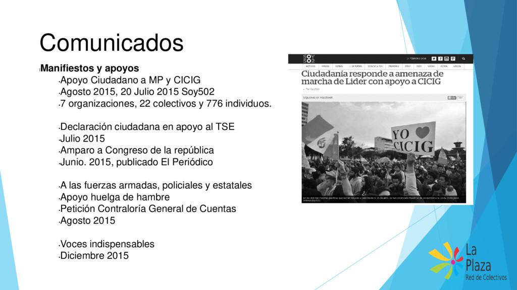 Comunicados l Manifiestos y apoyos • Apoyo Ciud...