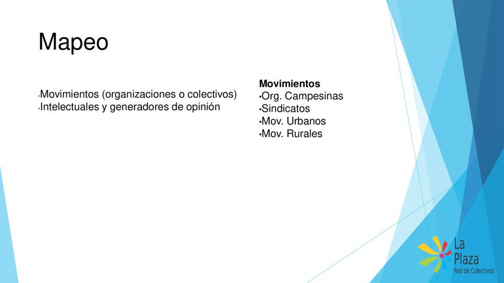 Mapeo • Movimientos (organizaciones o colectivo...