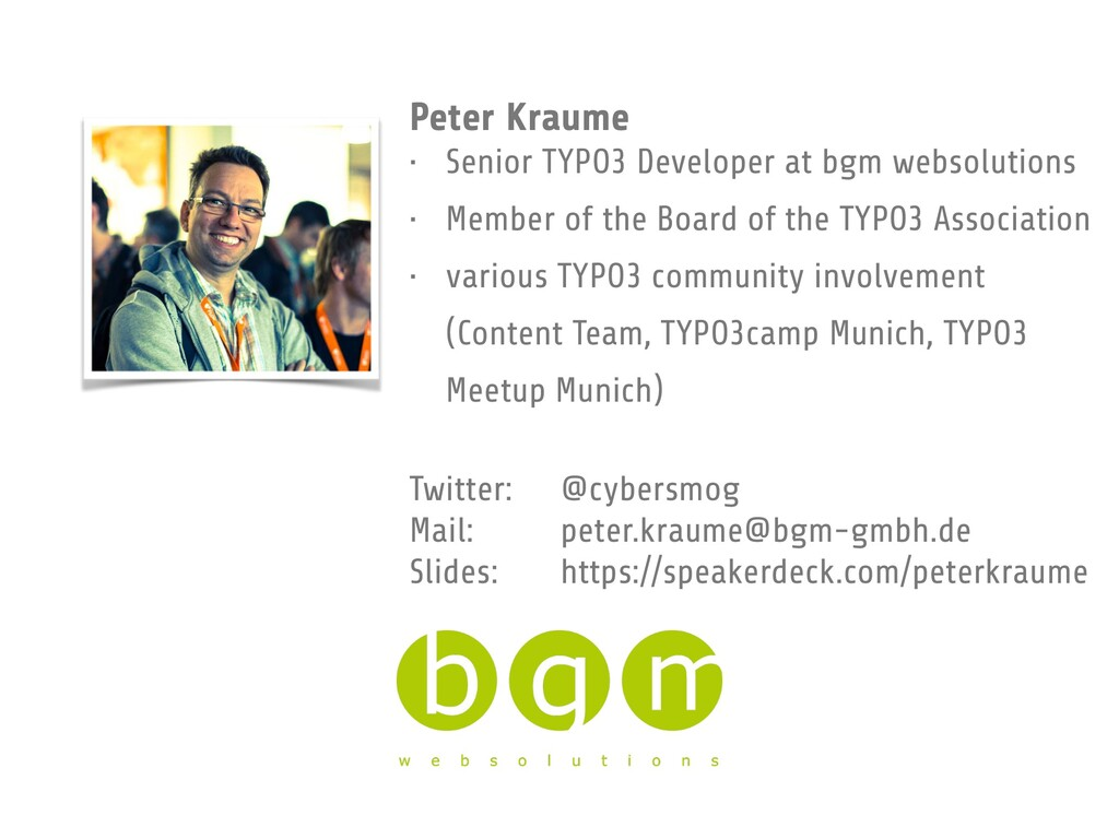 Peter Kraume • Senior TYPO3 Developer at bgm we...