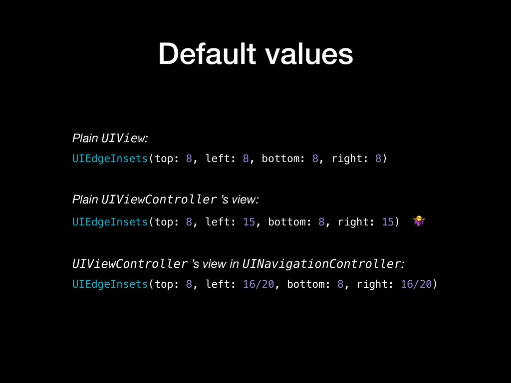 Default values Plain UIView: UIEdgeInsets(top: ...