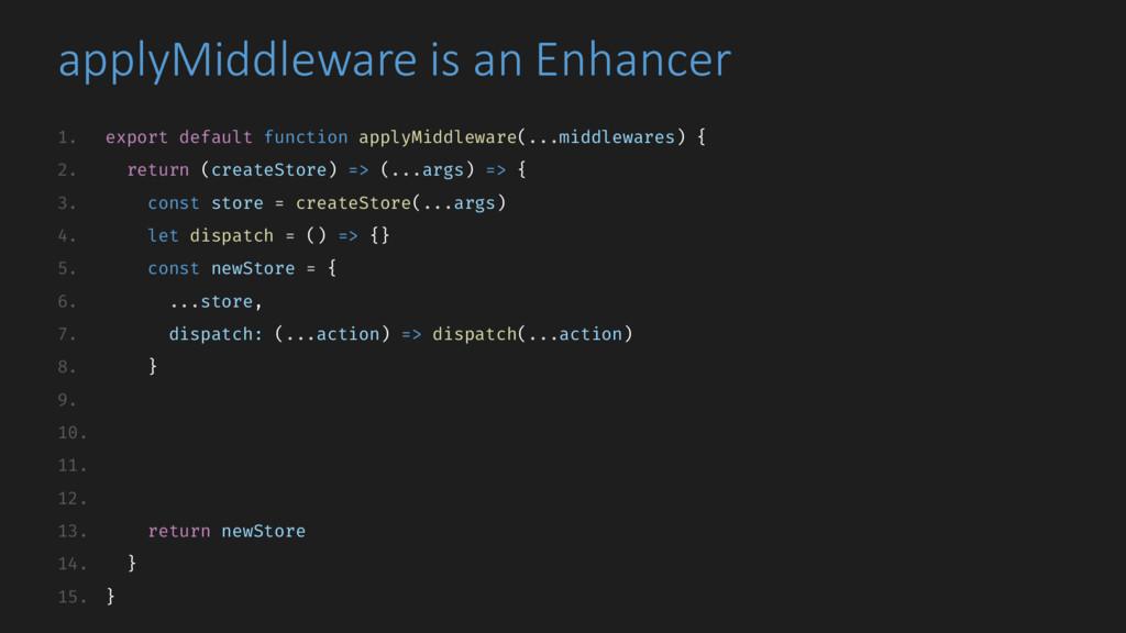 applyMiddleware is an Enhancer 1. export defaul...