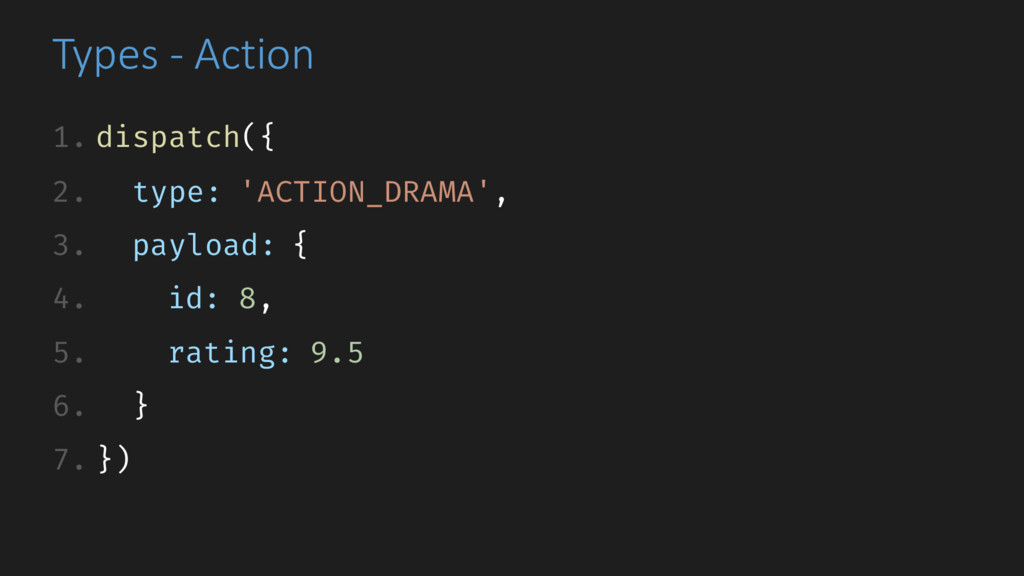 Types - Action 1. dispatch({ 2. type: 'ACTION_D...