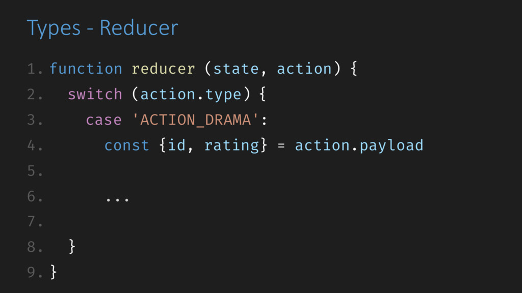 Types - Reducer 1. function reducer (state, act...