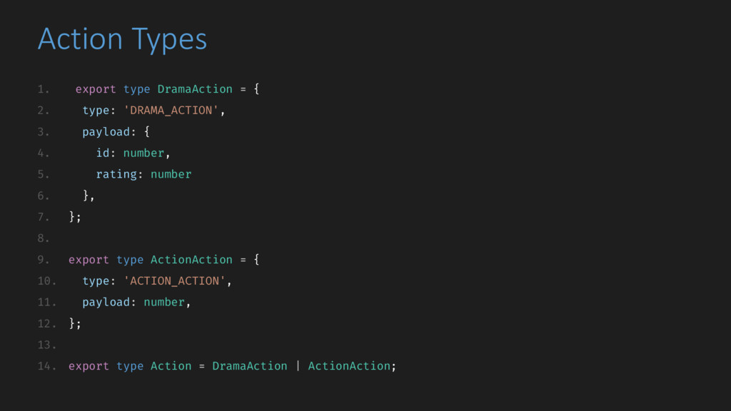 Action Types 1. export type DramaAction = { 2. ...