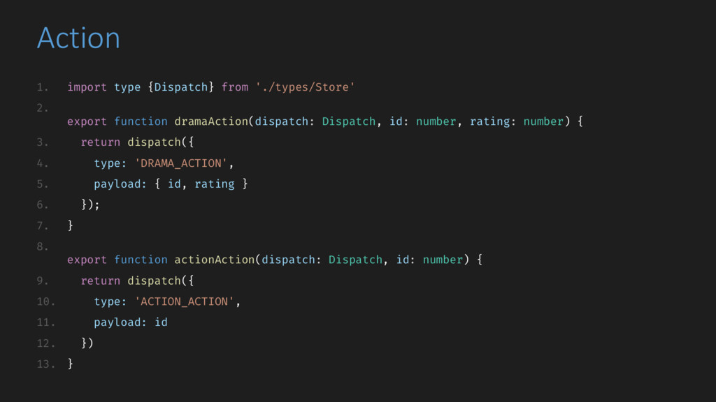 Action 1. import type {Dispatch} from './types/...