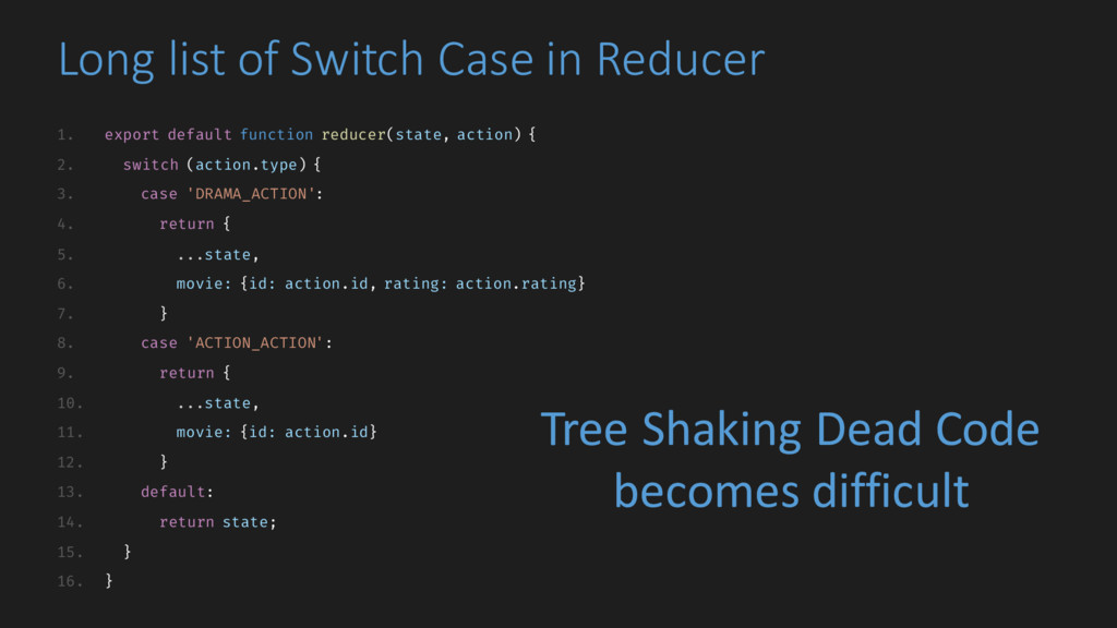 Long list of Switch Case in Reducer 1. export d...