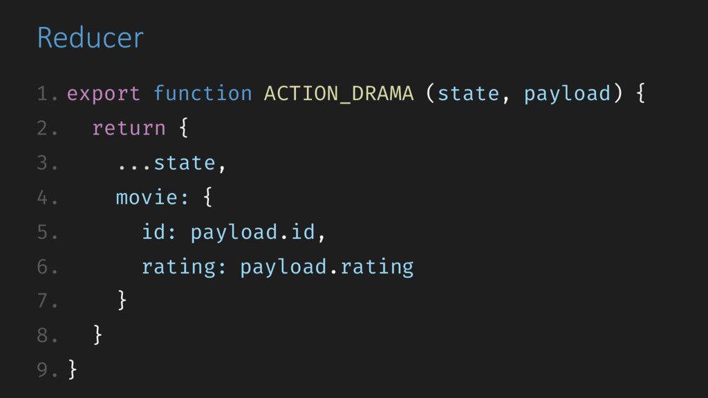 Reducer 1. export function ACTION_DRAMA (state,...