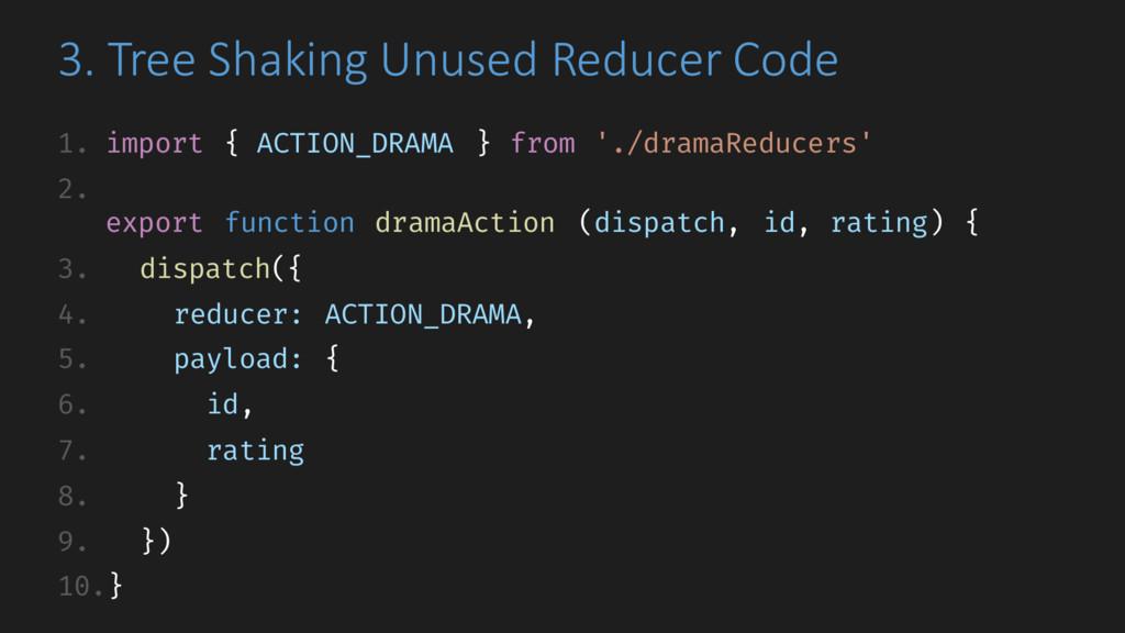 3. Tree Shaking Unused Reducer Code 1. import {...