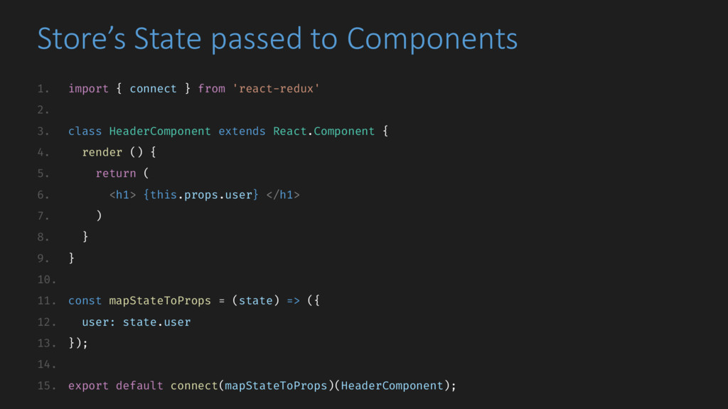 Store's State passed to Components 1. import { ...