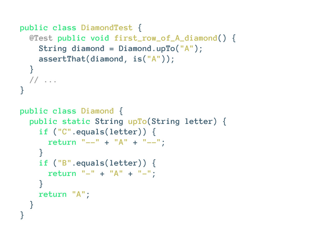 public class DiamondTest { @Test public void fi...