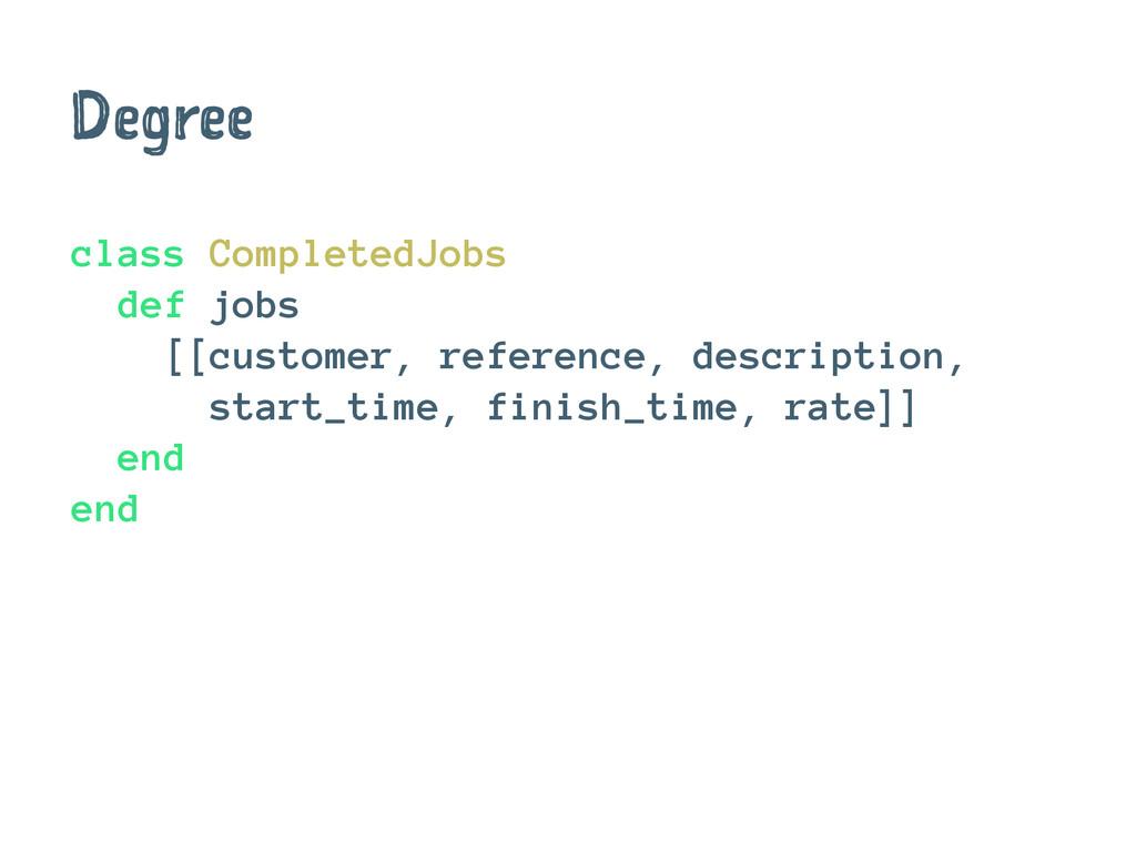 Degree class CompletedJobs def jobs [[customer,...