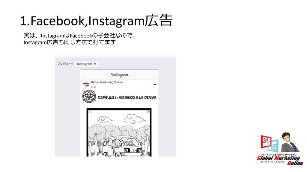 1.Facebook,Instagram広告 実は、InstagramはFacebookの⼦会...