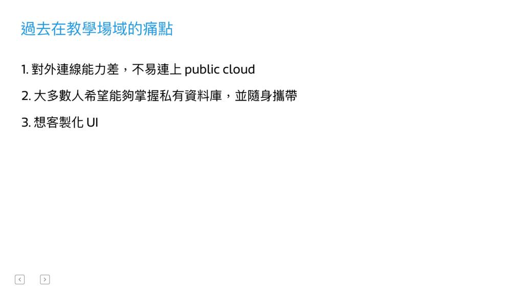 過去在教學場域的痛點 1. 對外連線能⼒力力差,不易易連上 public cloud 2. ⼤...
