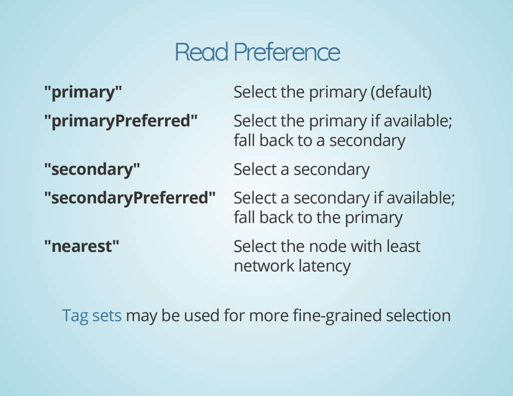 "Read Preference Read Preference ""primary"" Selec..."