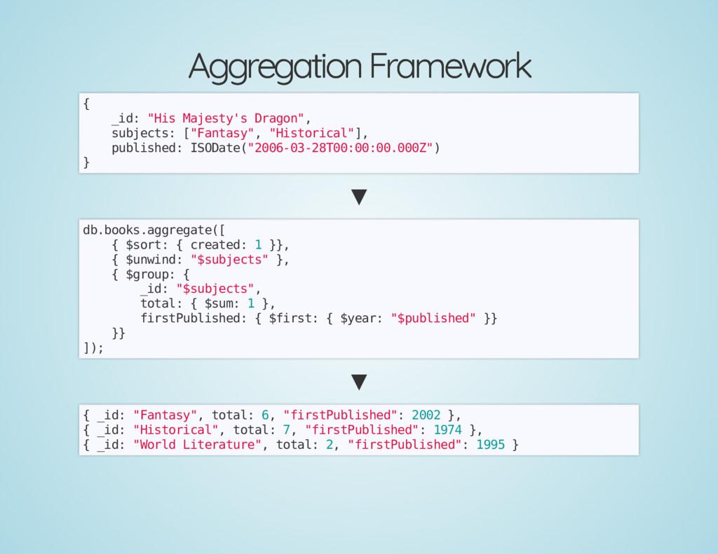 Aggregation Framework Aggregation Framework { _...