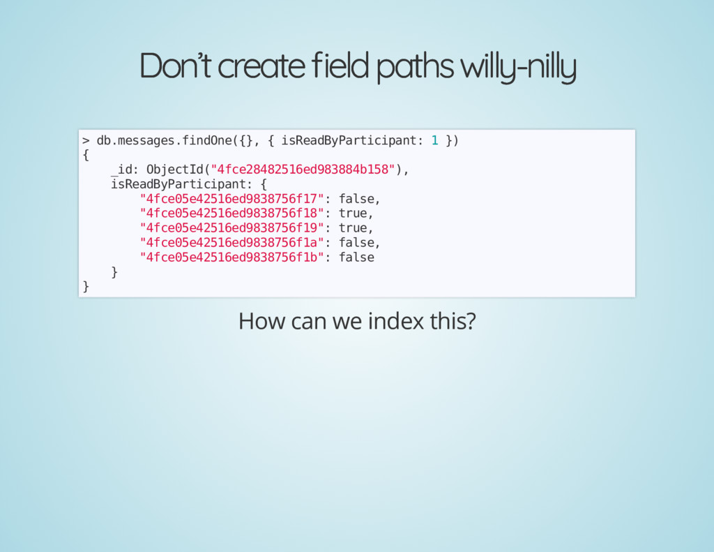 Don't create eld paths willy-nilly Don't create...