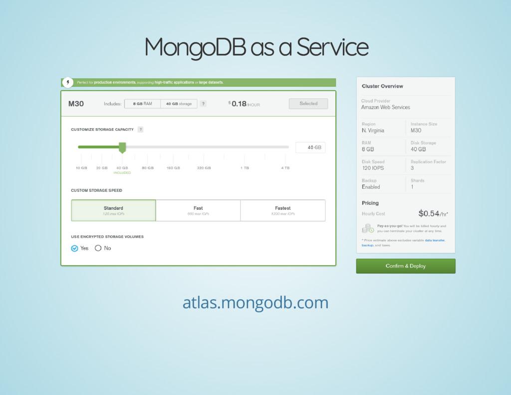 MongoDB as a Service MongoDB as a Service atlas...