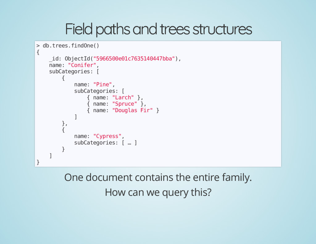 Field paths and trees structures Field paths an...