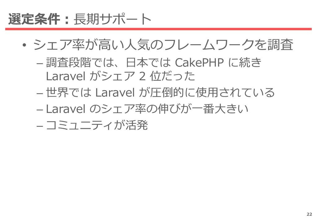 選定条件:長期サポート • シェア率が高い人気のフレームワークを調査 – 調査段階では、日本で...