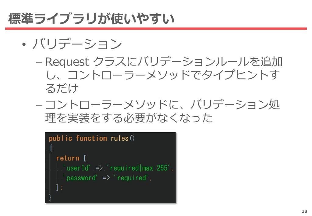 標準ライブラリが使いやすい • バリデーション – Request クラスにバリデーションルー...