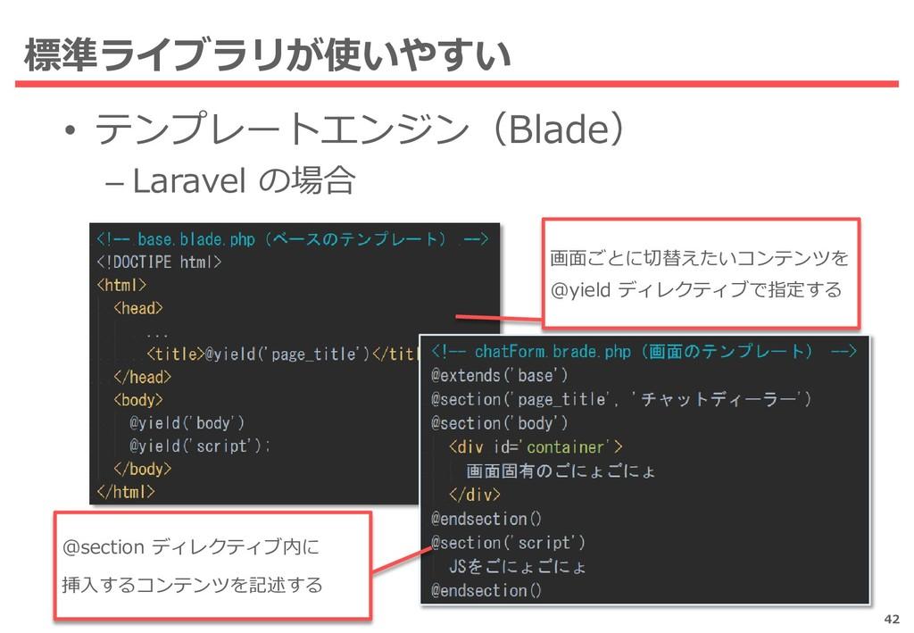 • テンプレートエンジン(Blade) – Laravel の場合 標準ライブラリが使いやすい...